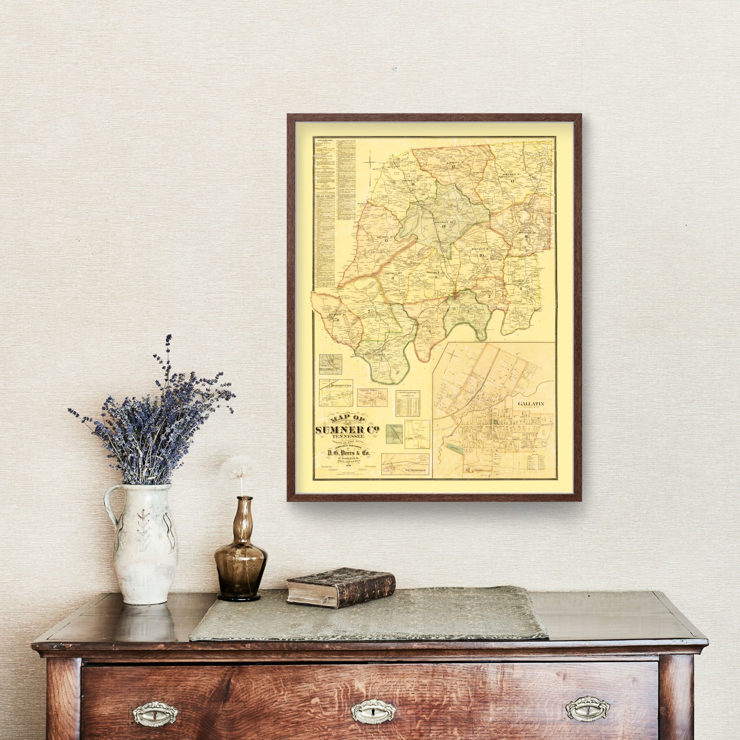 Vintage Map of Sumner County, Tennessee 1878
