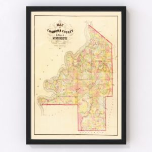 Vintage Map of Coahoma County, Mississippi 1872