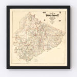 Vintage Map of Yazoo County, Mississippi 1874