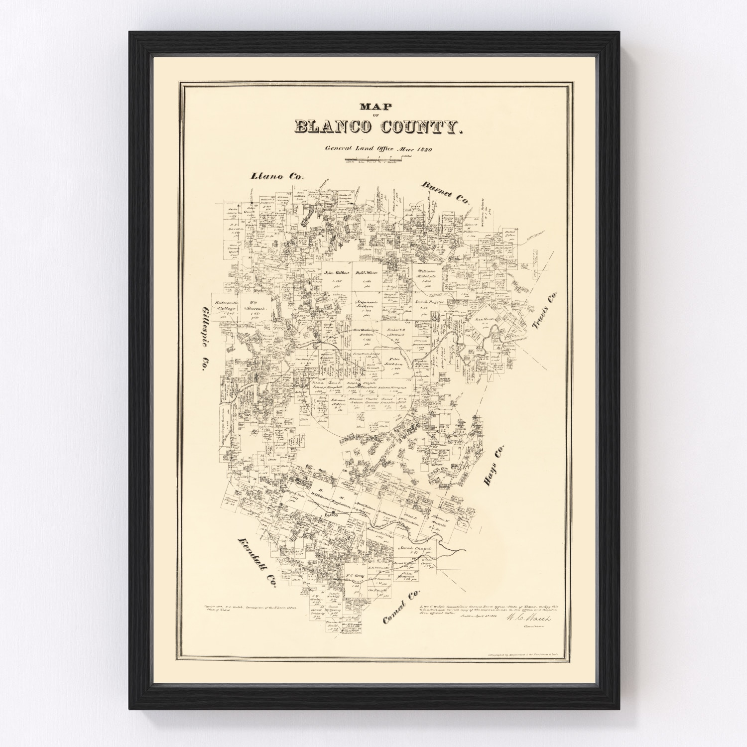 Vintage Map of Blanco County, Texas 1879