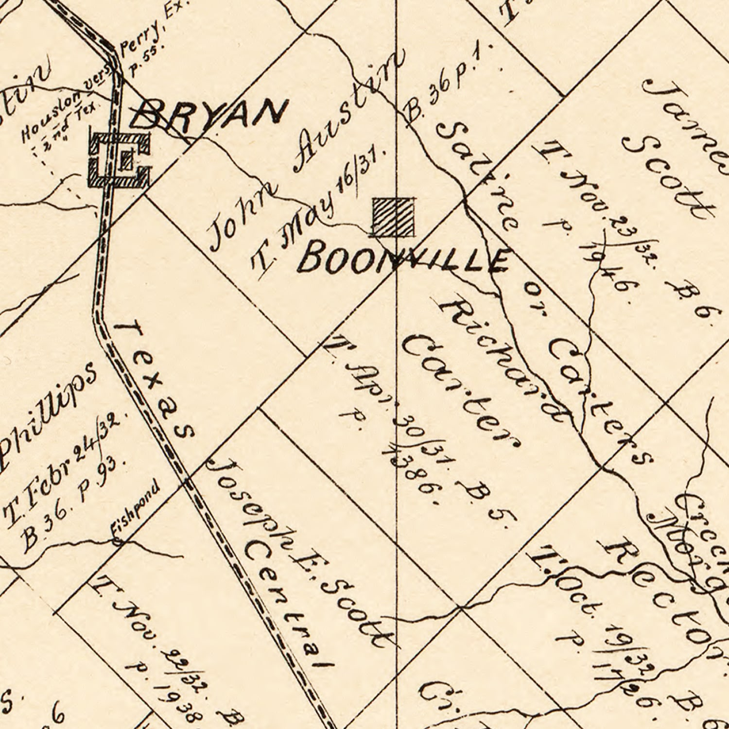 Vintage Map of Brazos County, Texas 1897