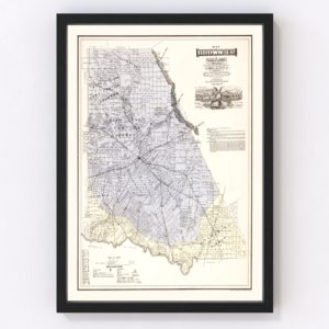Vintage Map of Brown County, Texas 1876