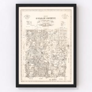Vintage Map of Collin County, Texas 1881