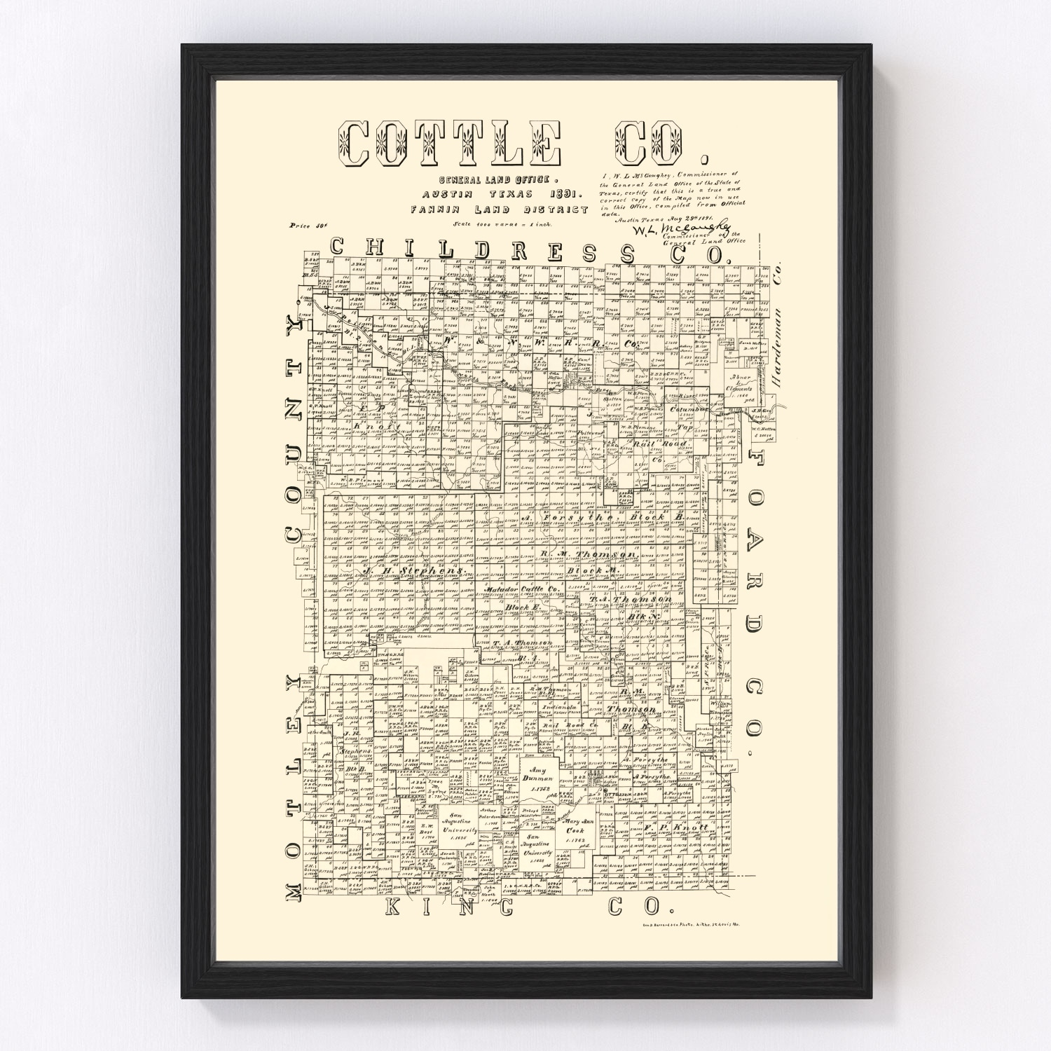 Vintage Map of Cottle County, Texas 1891