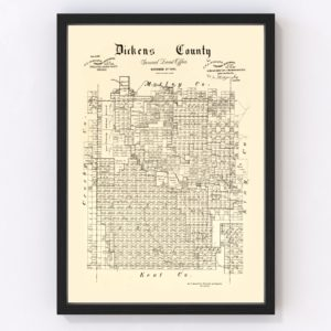 Vintage Map of Dickens County, Texas 1891