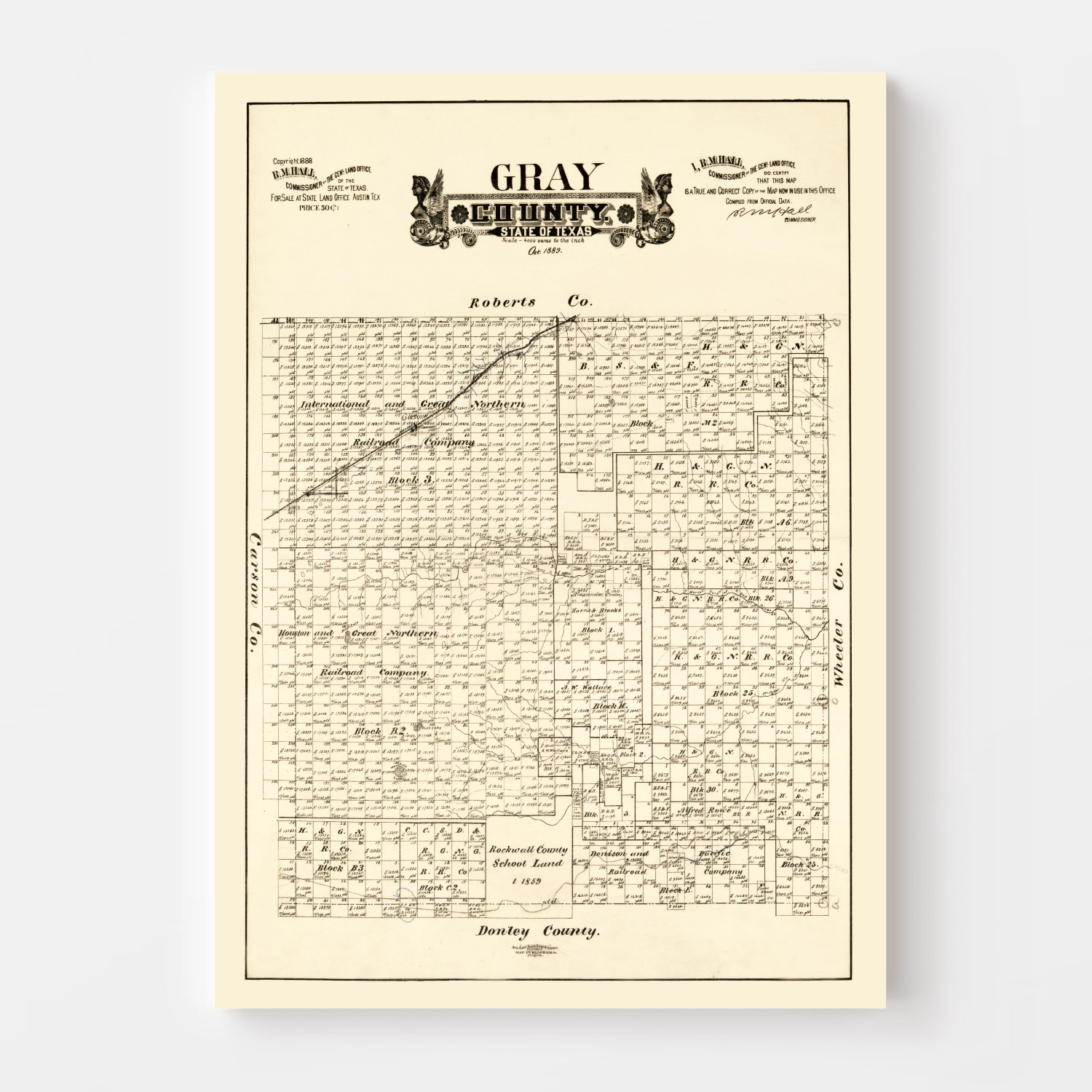 Vintage Map of Gray County, Texas 1888