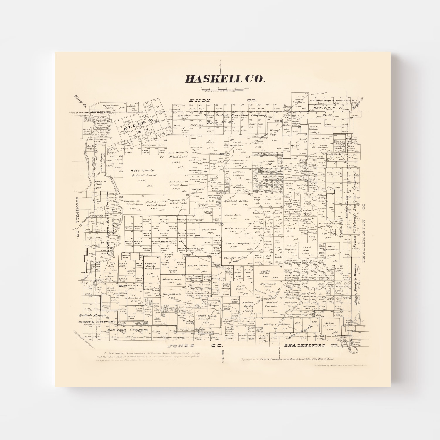 Vintage Map of Haskell County, Texas 1879