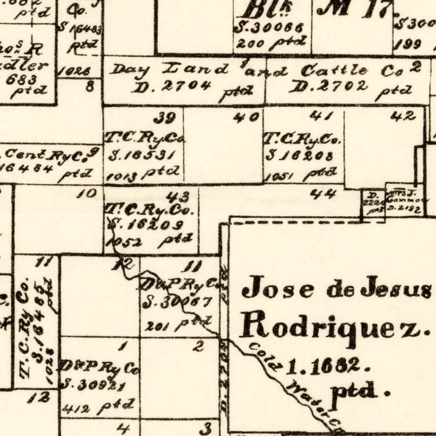 Vintage Map of Hutchinson County, Texas 1891