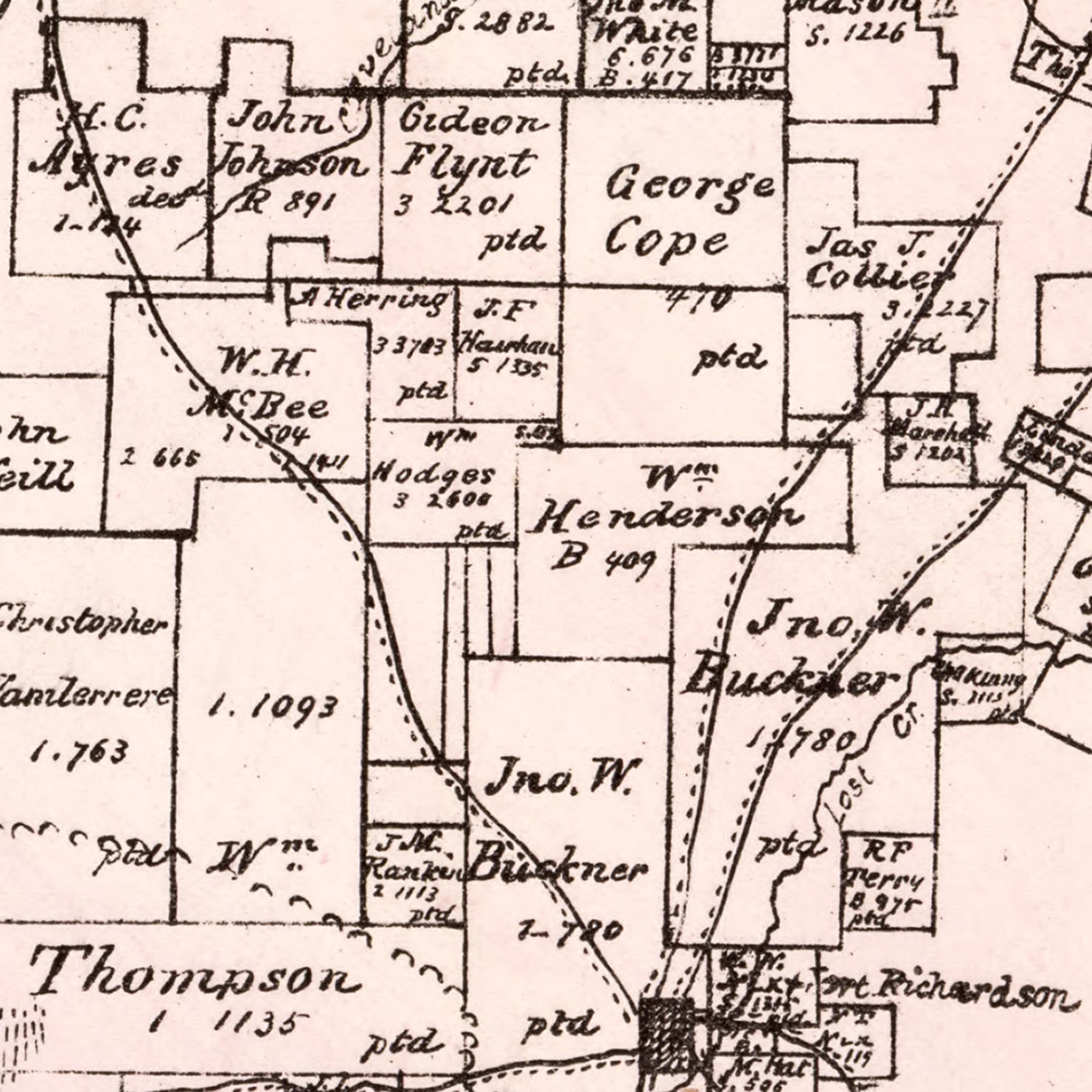Vintage Map of Jack County, Texas 1876