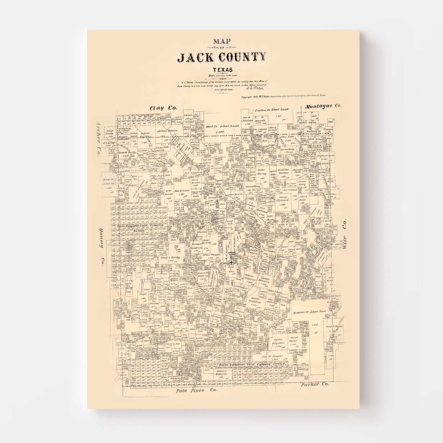 Vintage Map of Jack County, Texas 1879