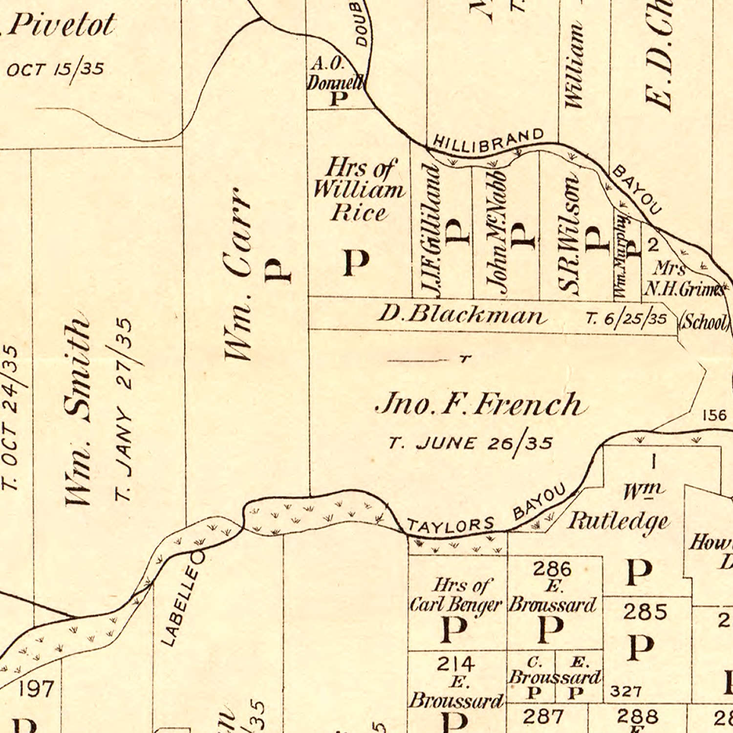 Vintage Map of Jefferson County, Texas 1898