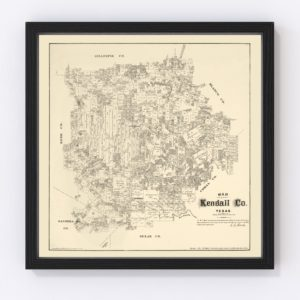 Vintage Map of Kendall County, Texas 1879