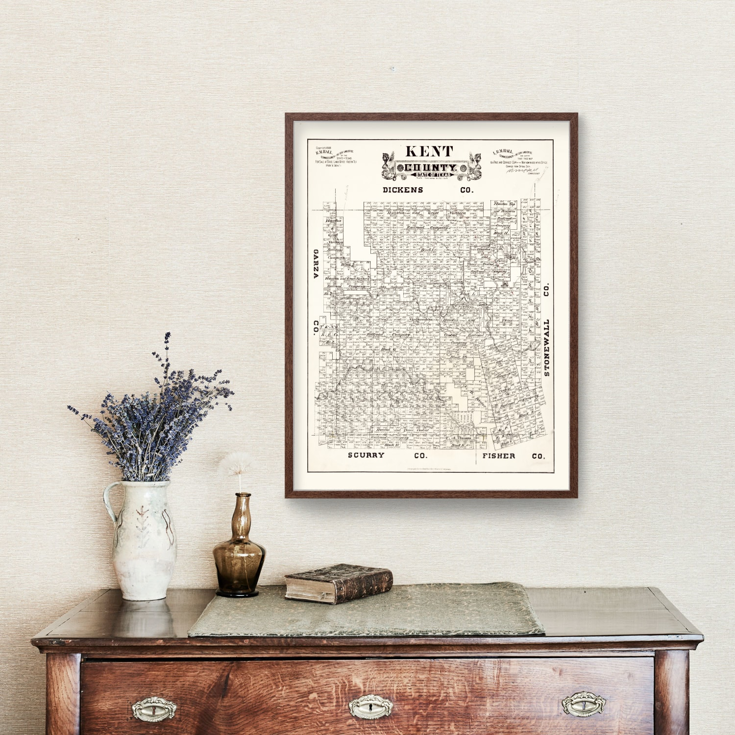 Vintage Map of Kent County, Texas 1888