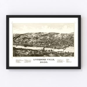 Vintage Map of Livermore Falls, Maine 1889