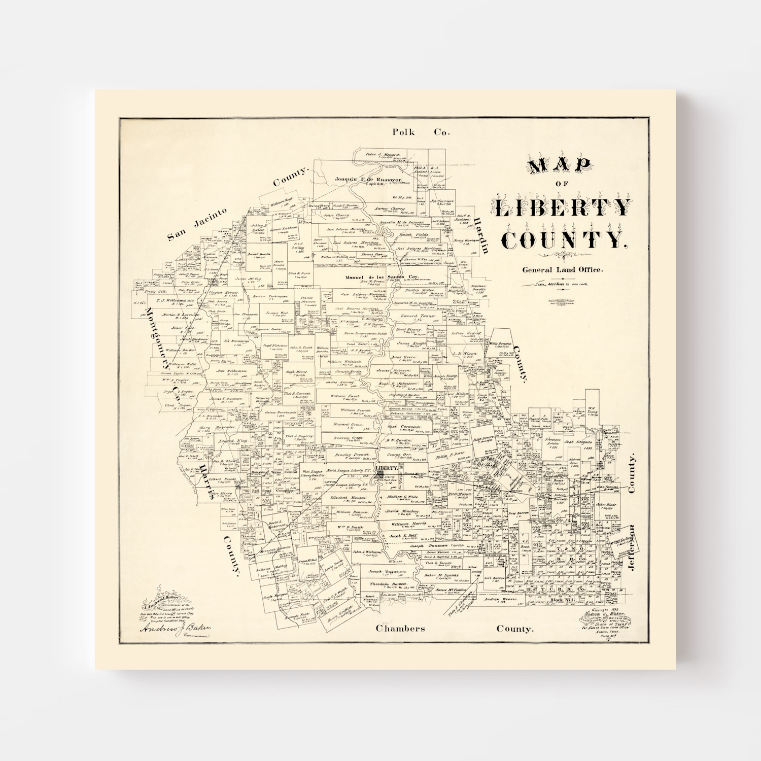Vintage Map of Liberty County, Texas 1895