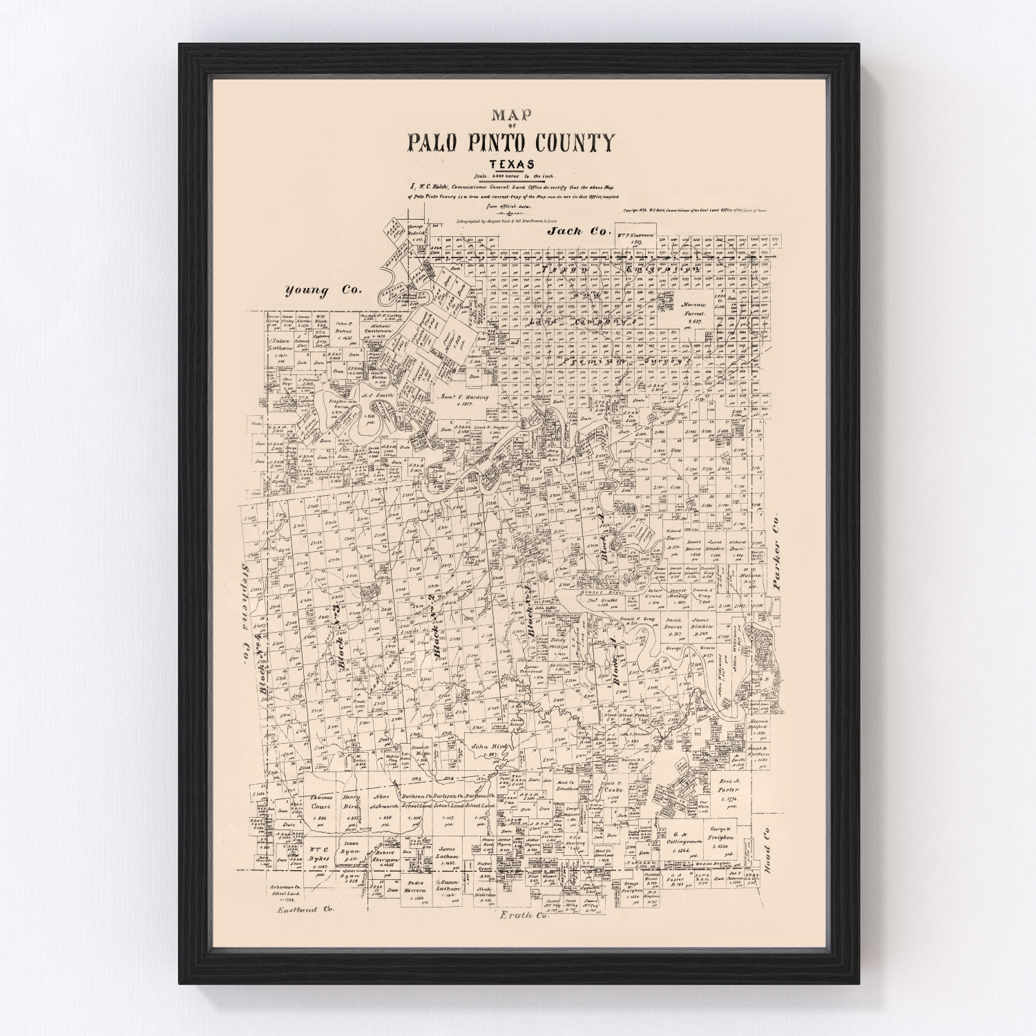 Vintage Map of Palo Pinto County, Texas 1879