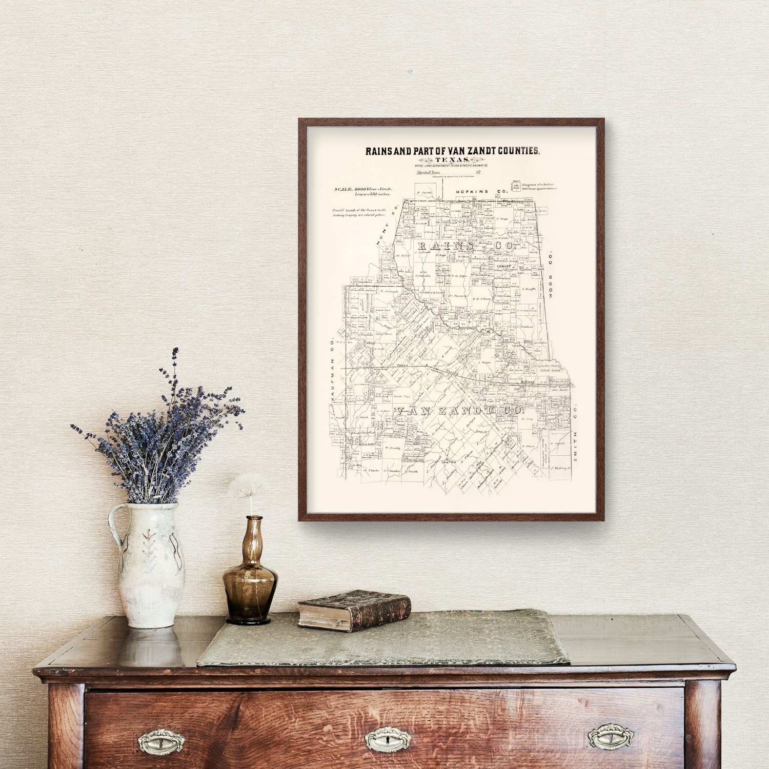 Vintage Map of Rains County, Texas 1870
