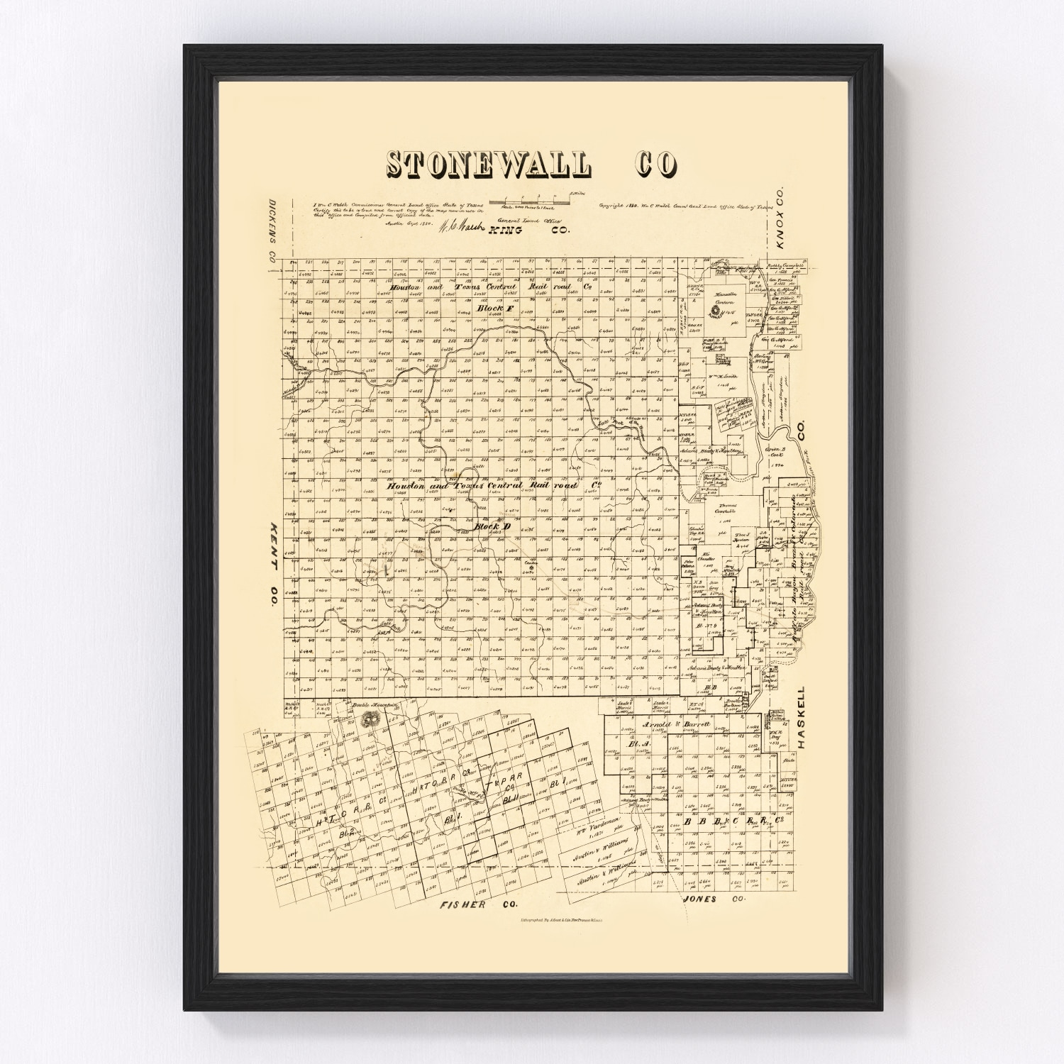 Vintage Map of Stonewall County, Texas 1880