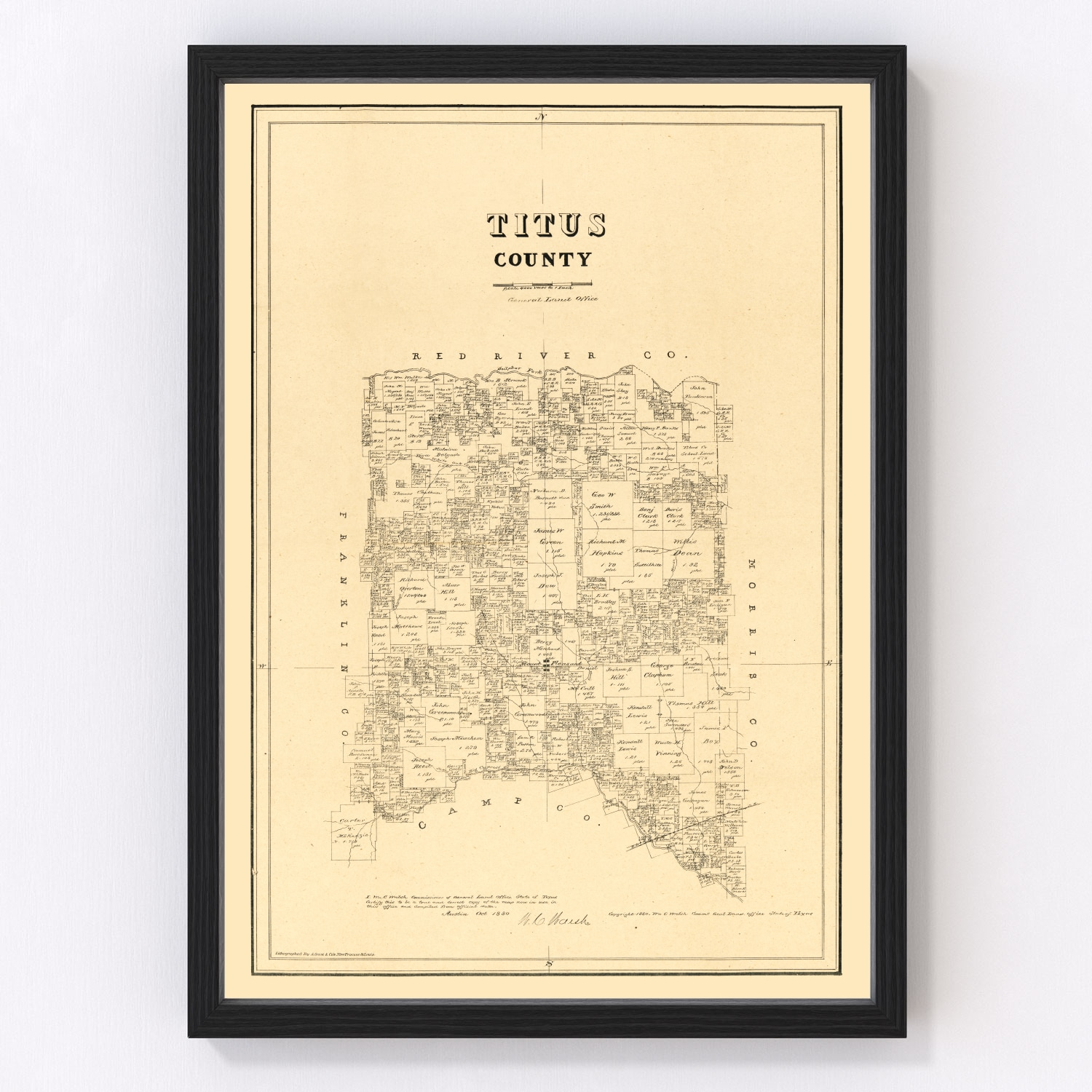 Vintage Map of Titus County, Texas 1880