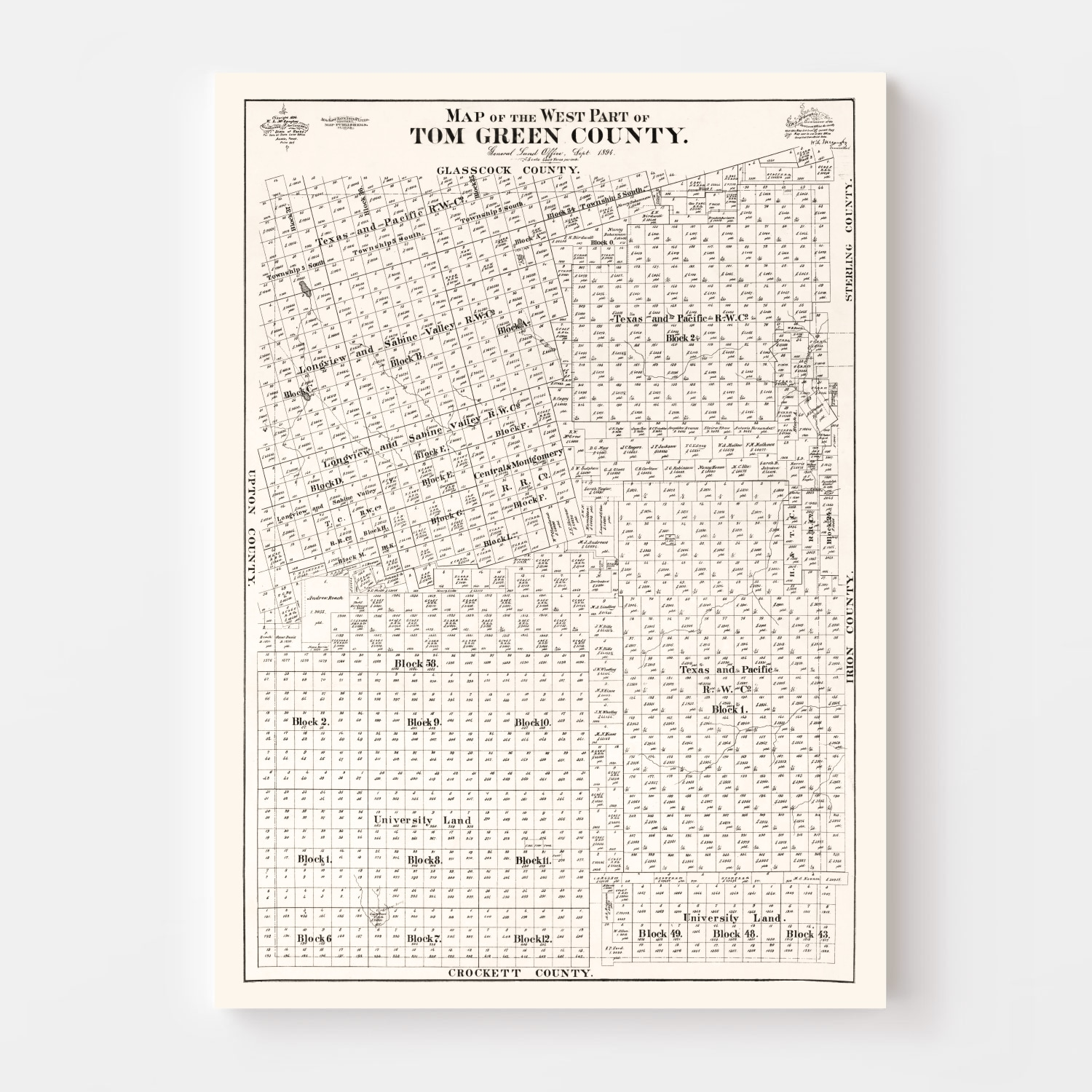 Vintage Map of Tom Green County, Texas 1894