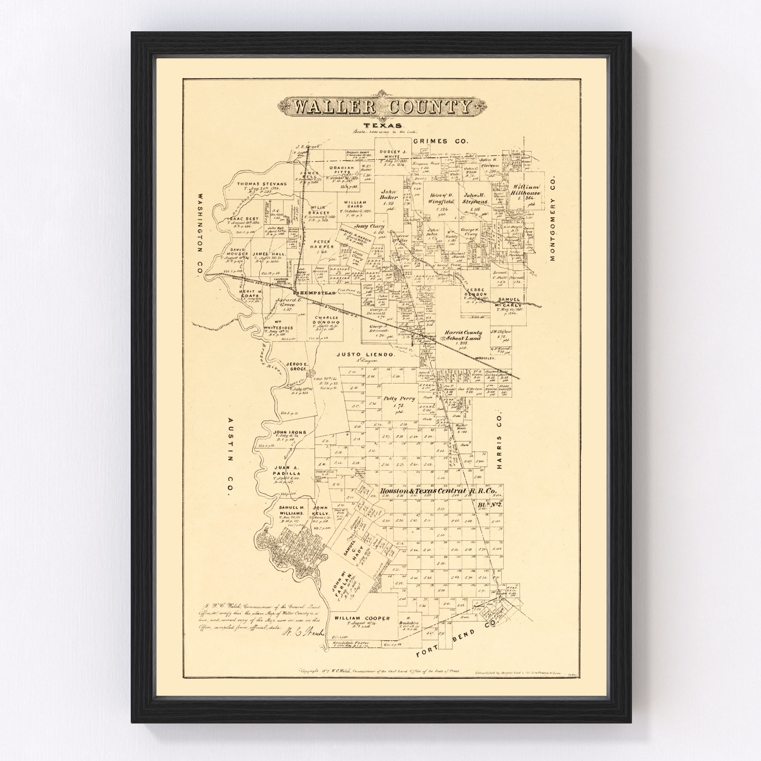 Vintage Map of Waller County, Texas 1879