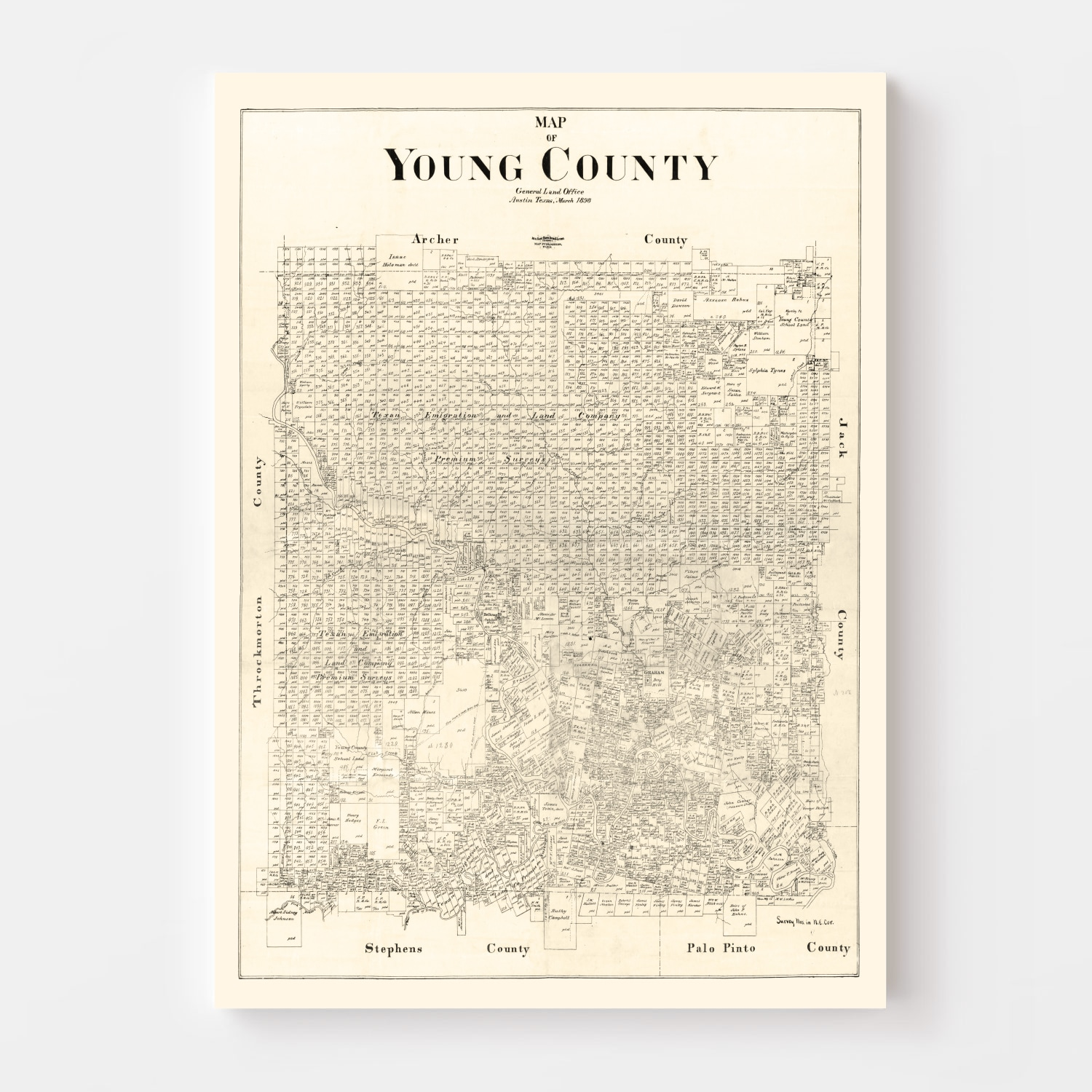 Vintage Map of Young County, Texas 1898