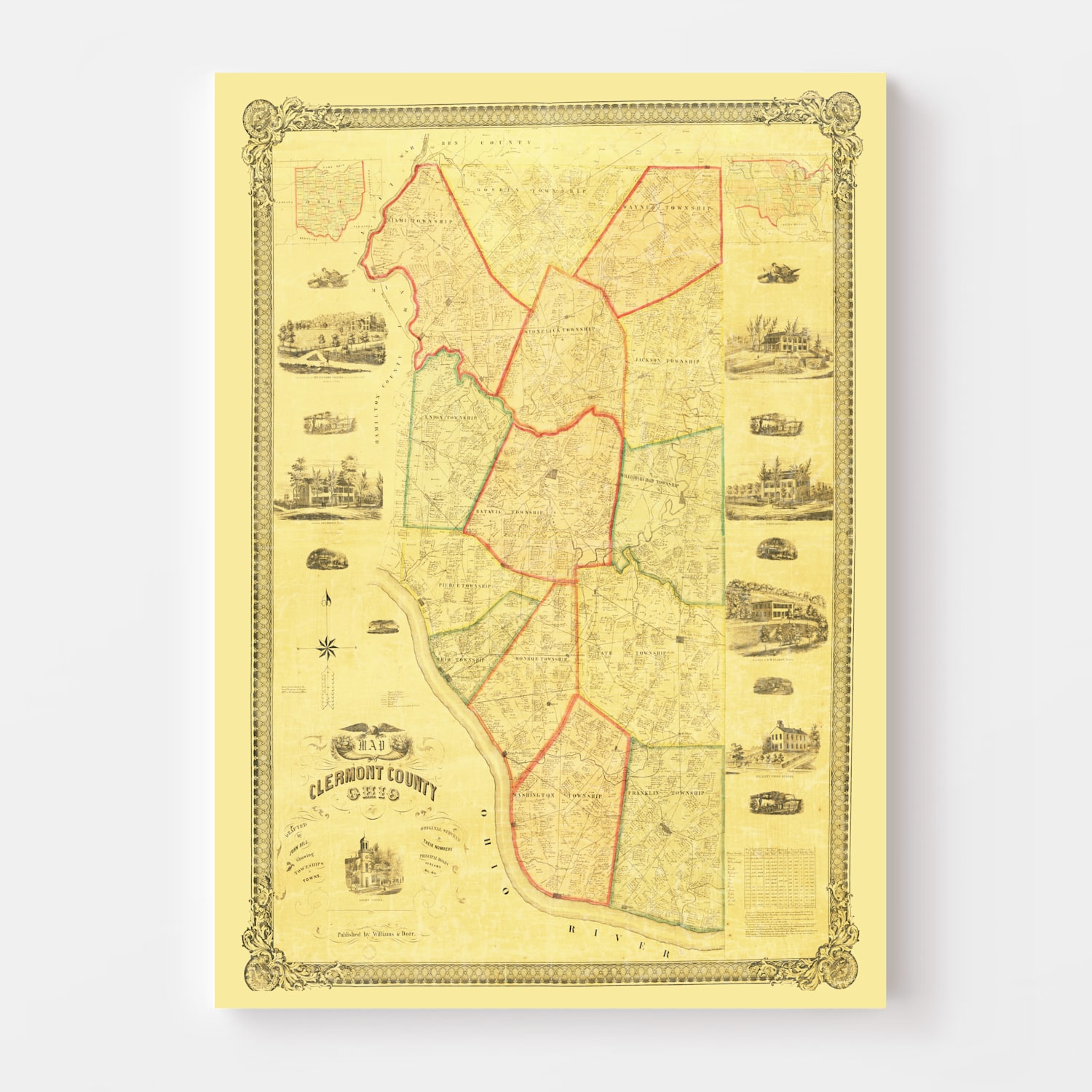 Vintage Map of Clermont County, Ohio 1857