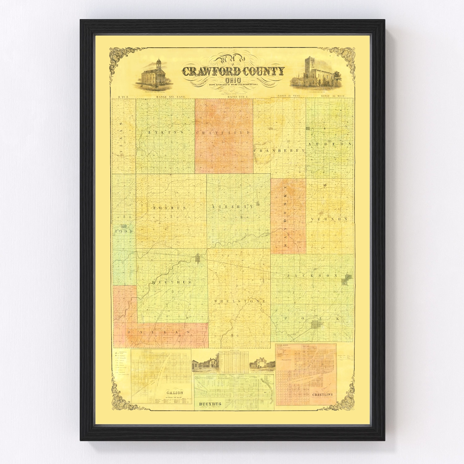 Vintage Map of Crawford County, Ohio 1850