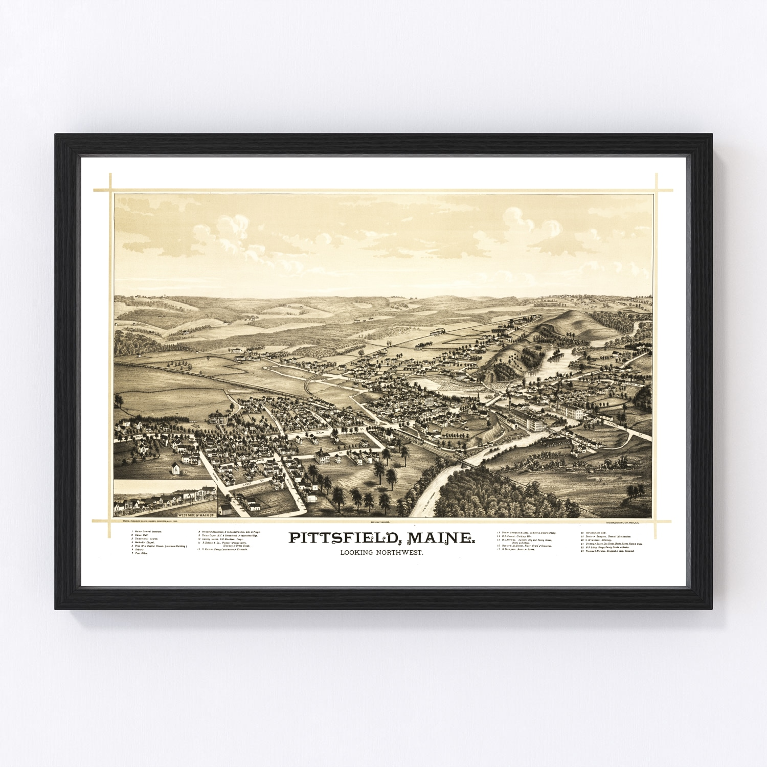 Vintage Map of Pittsfield, Maine 1889