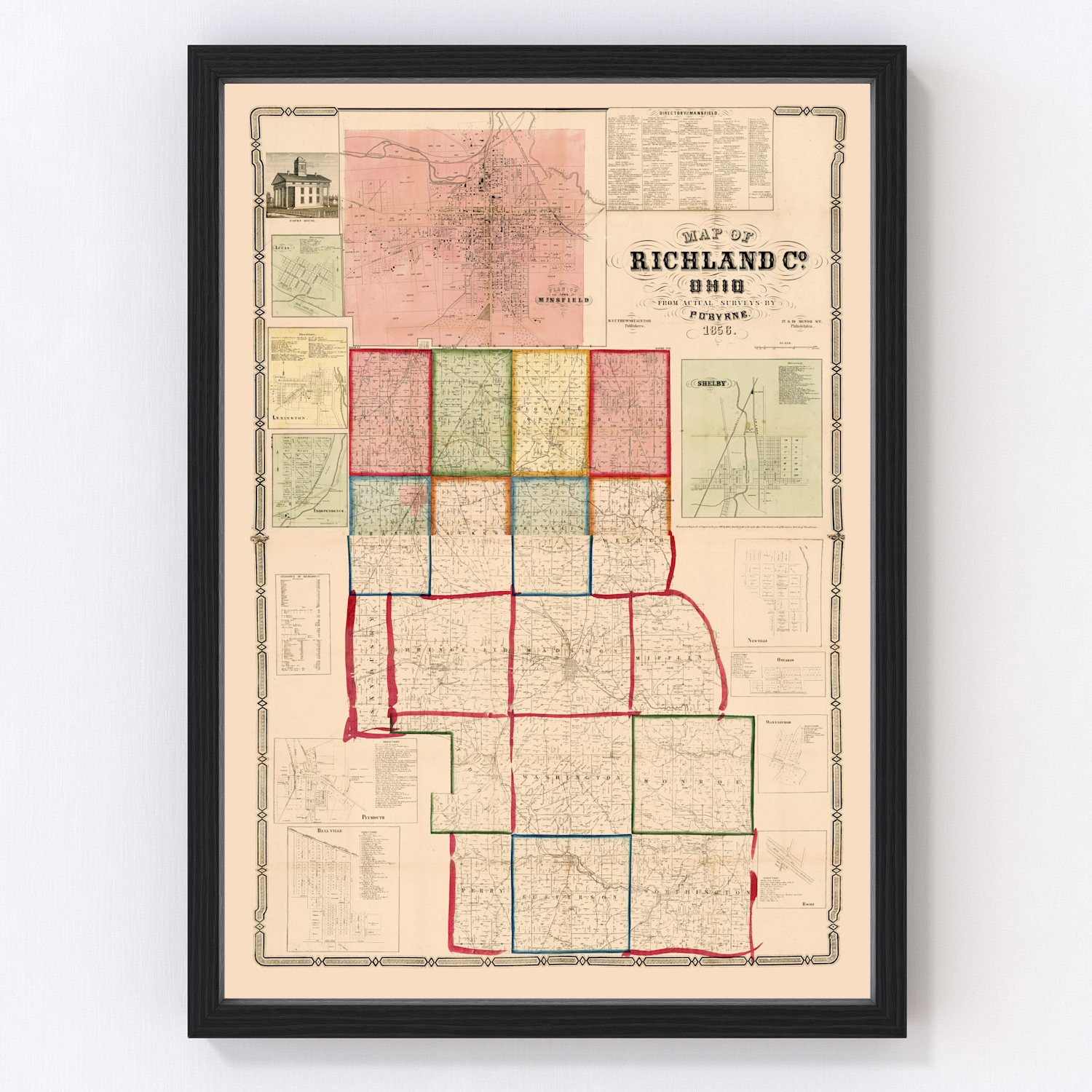 Vintage Map of Richland County, Ohio 1856