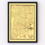 Vintage Map of Dearborn County, Indiana 1860