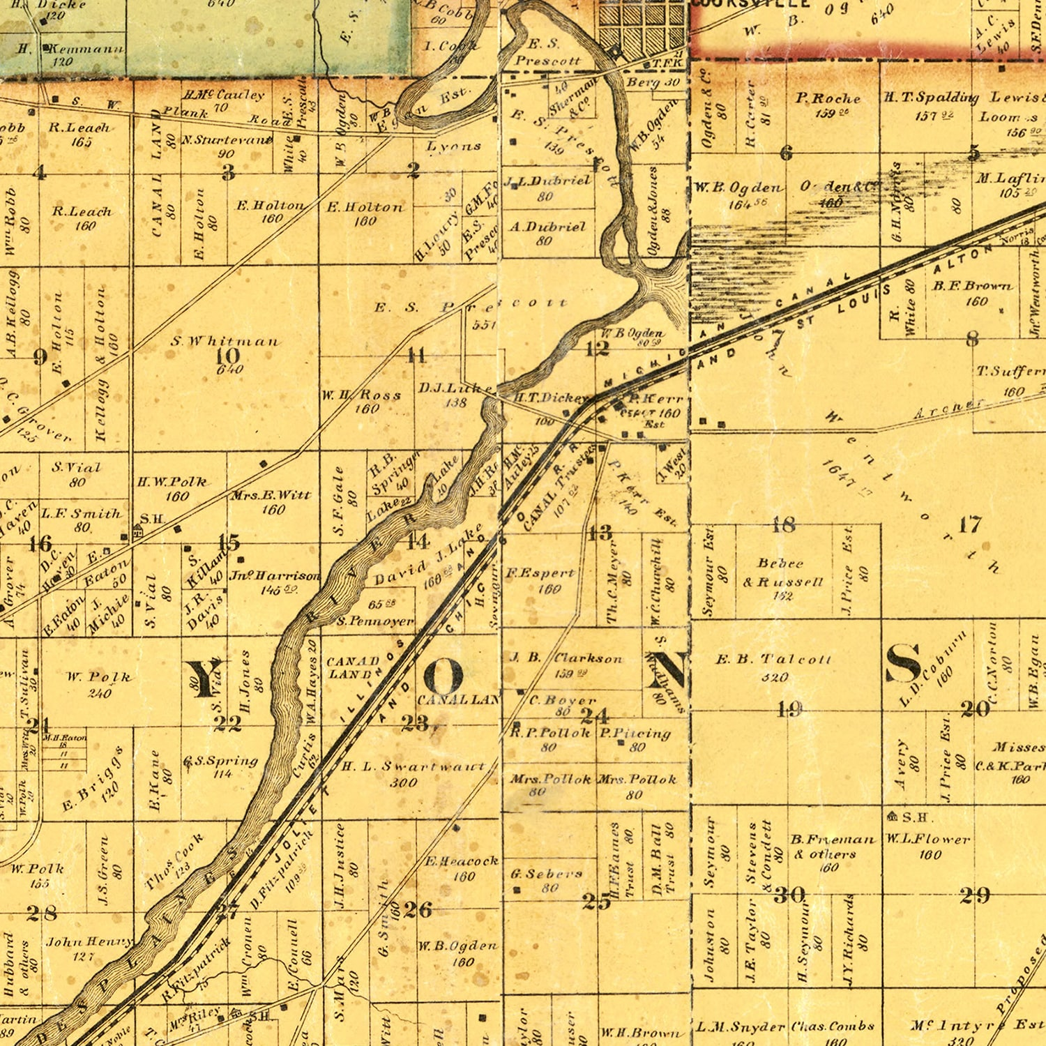 Vintage Map of Cook County, Illinois 1861