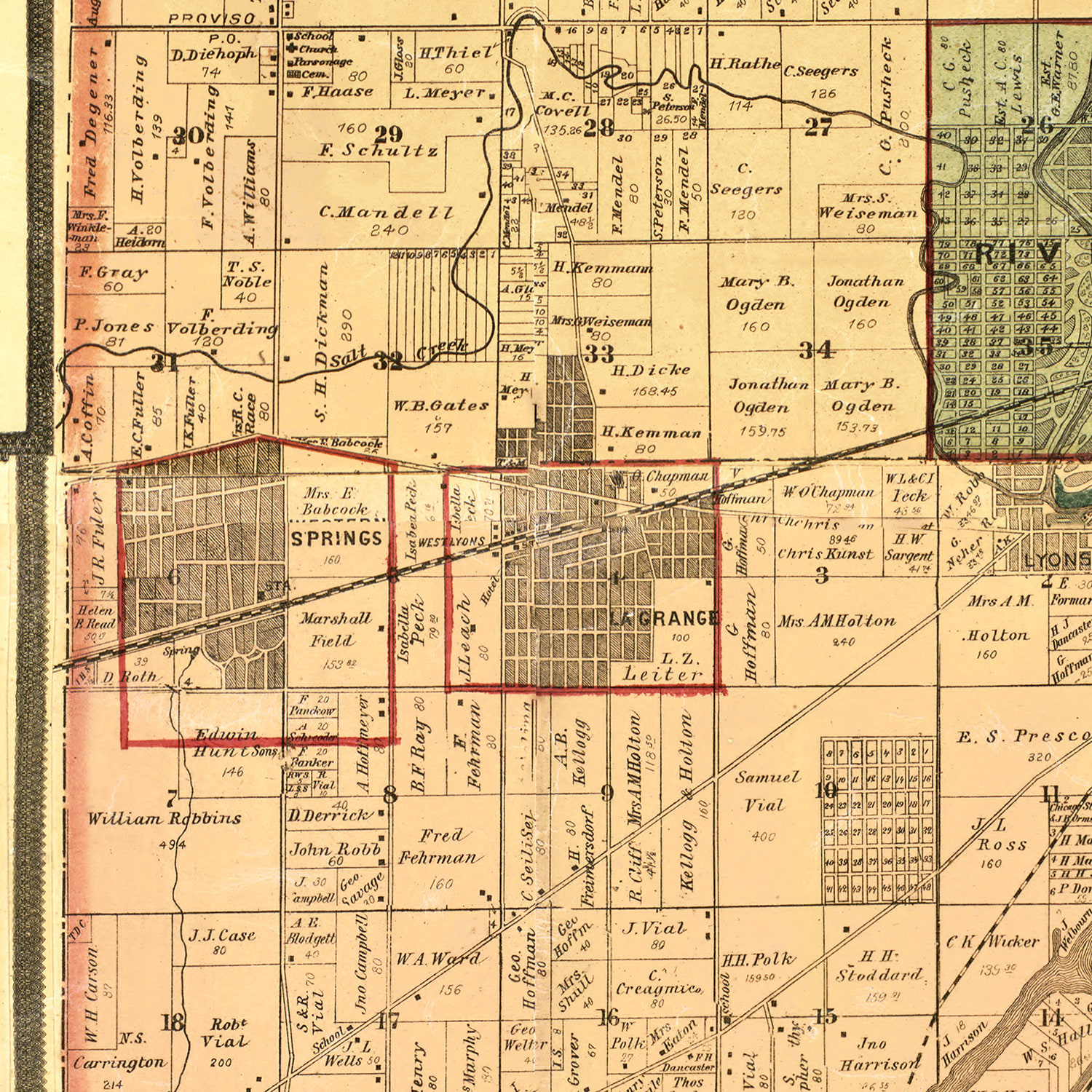 Vintage Map of Cook County, Illinois 1886