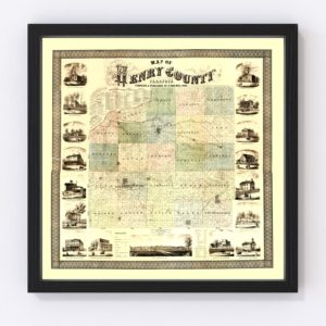 Vintage Map of Henry County, Illinois 1860