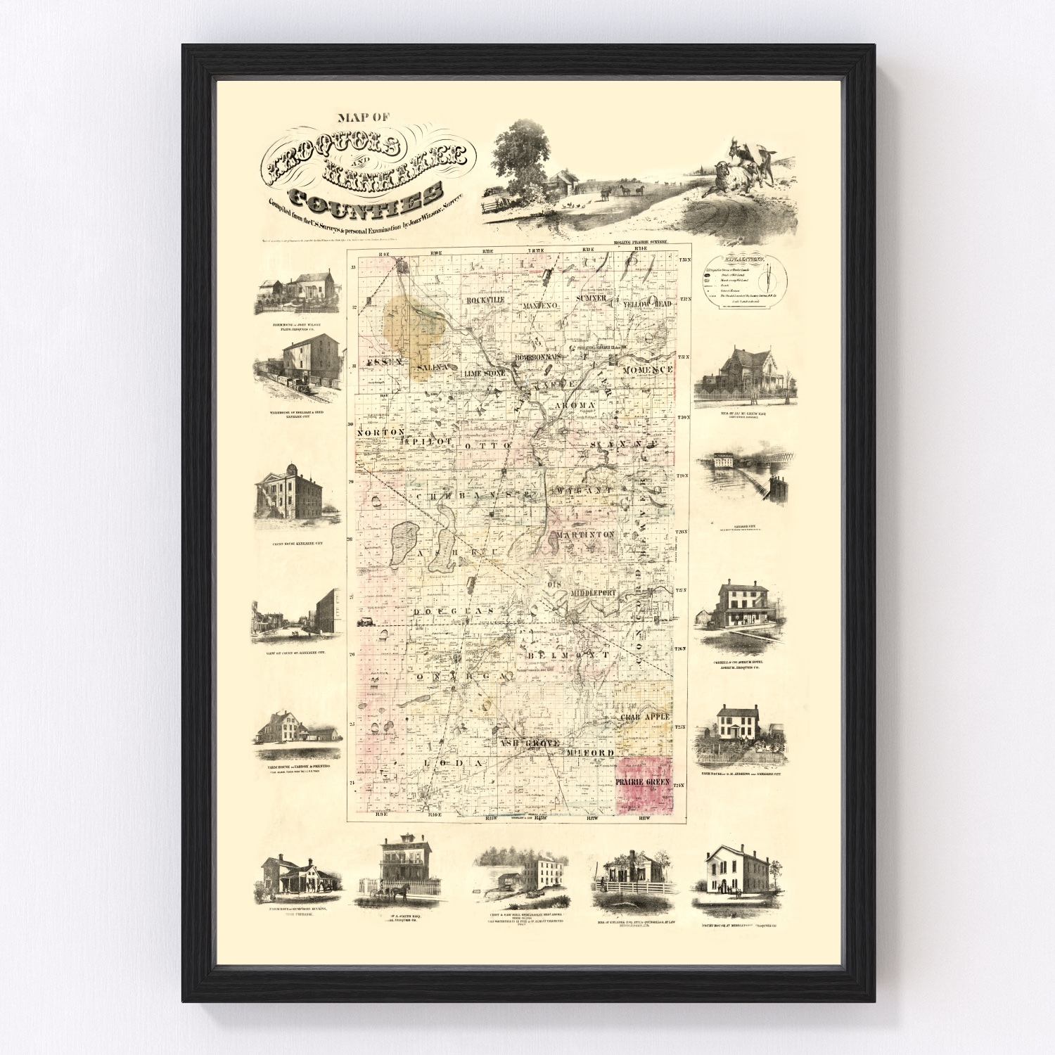 Vintage Map of Iroquois County, Illinois 1860