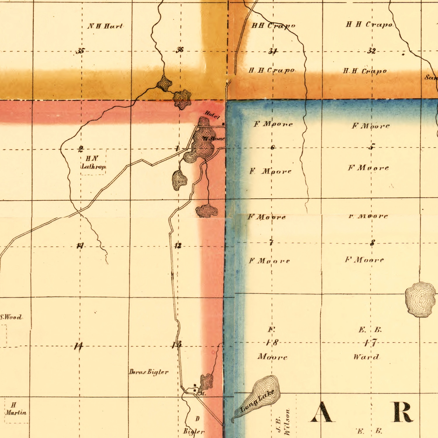 Vintage Map of Lapeer County, Michigan 1863