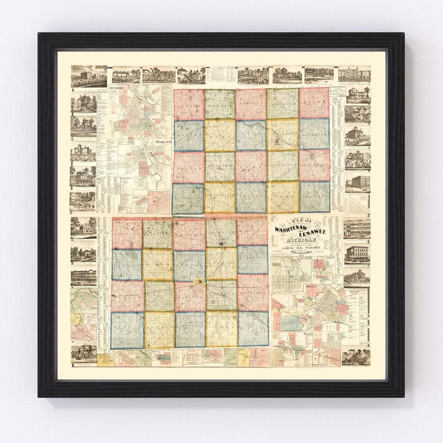 Vintage Map of Lenawee County, Michigan 1864