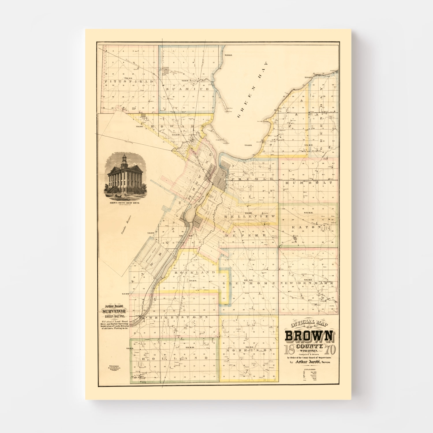 Vintage Map of Brown County, Wisconsin 1870