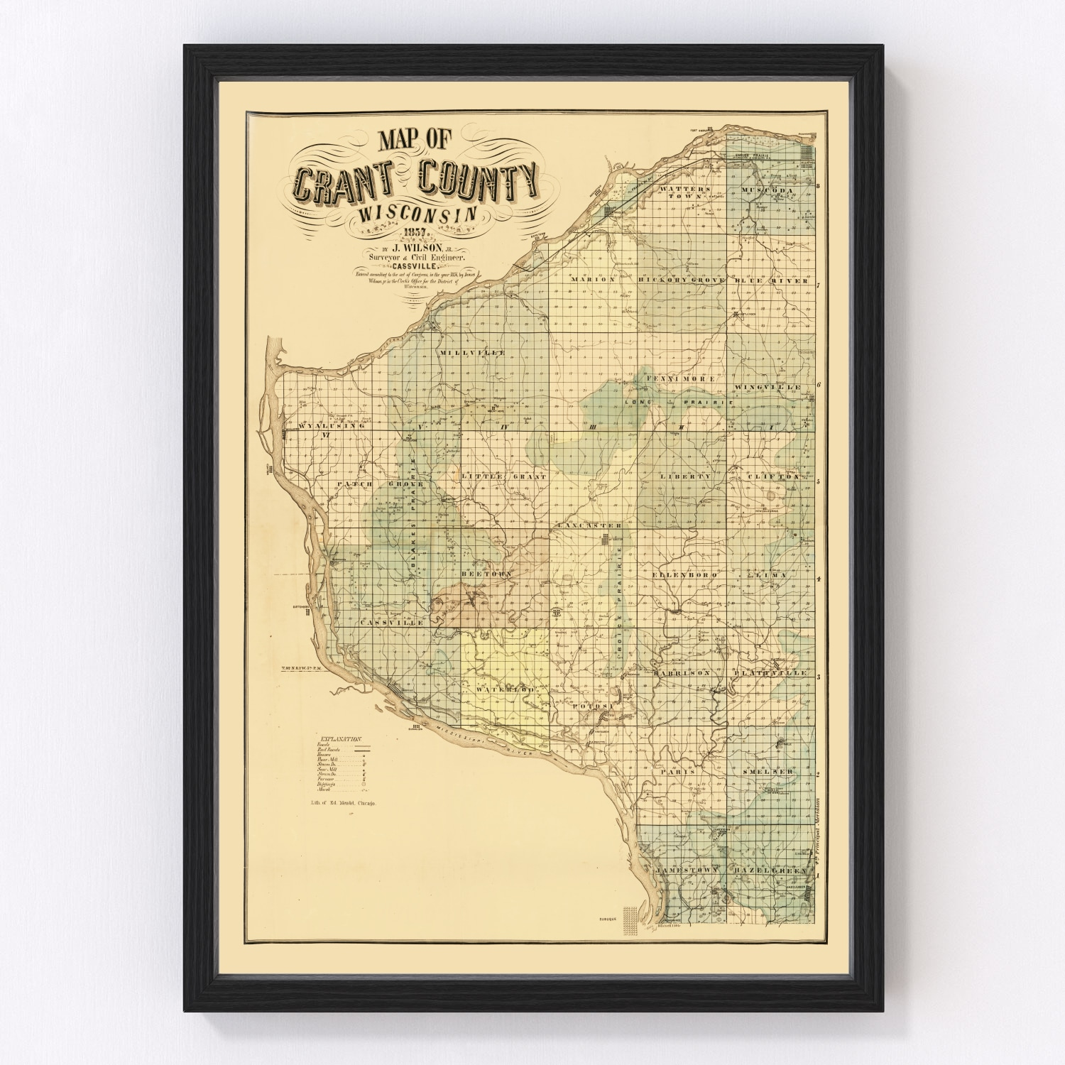 Vintage Map of Grant County, Wisconsin 1857