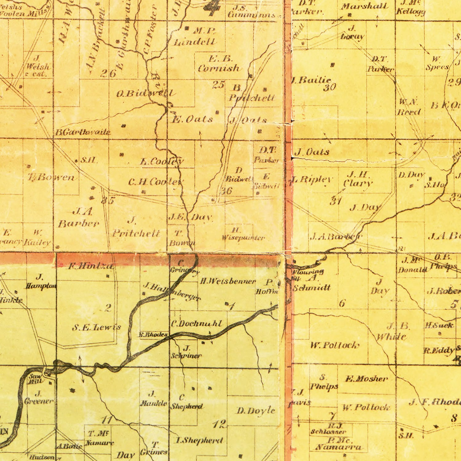 Vintage Map of Grant County, Wisconsin 1868
