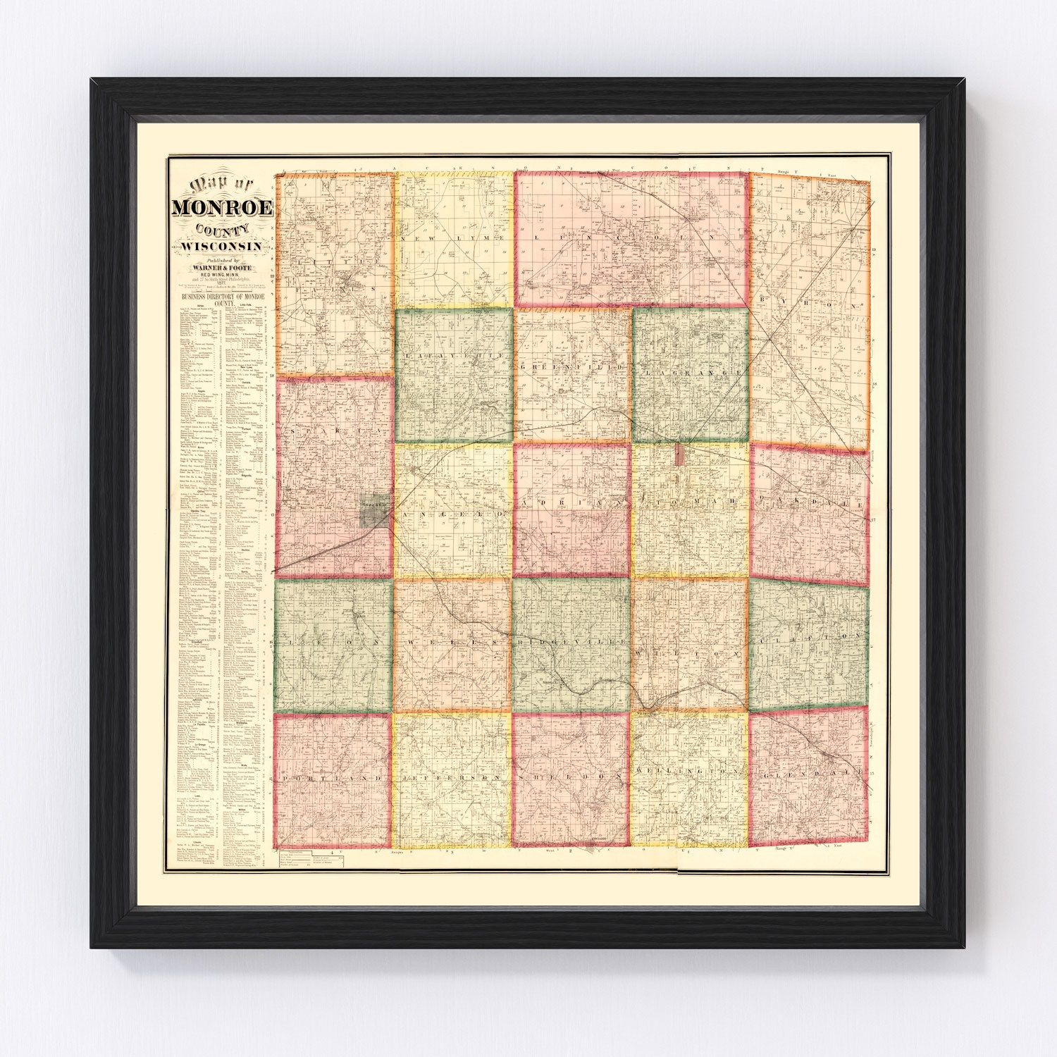 Vintage Map of Monroe County, Wisconsin 1877