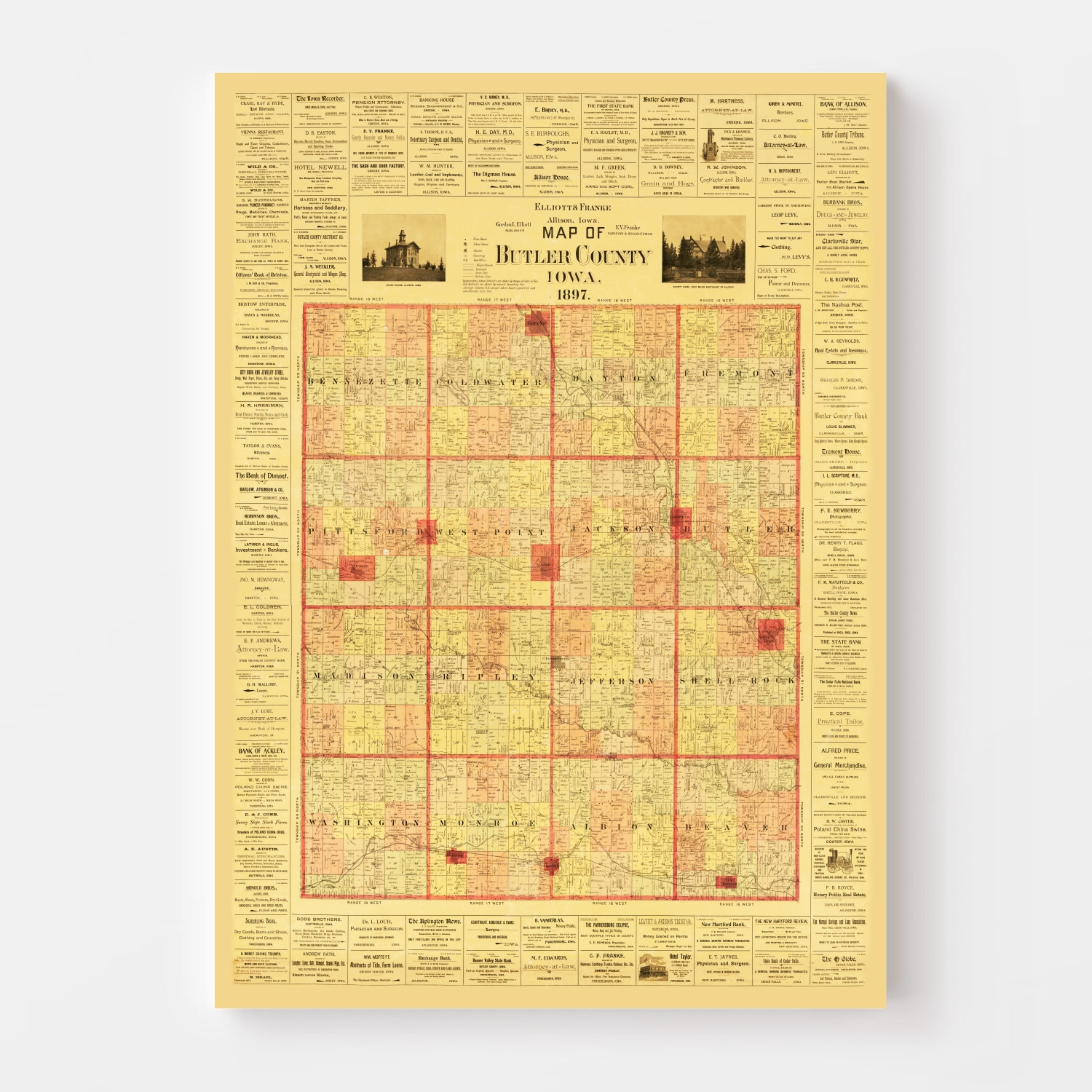 Vintage Map of Butler County, Iowa 1897