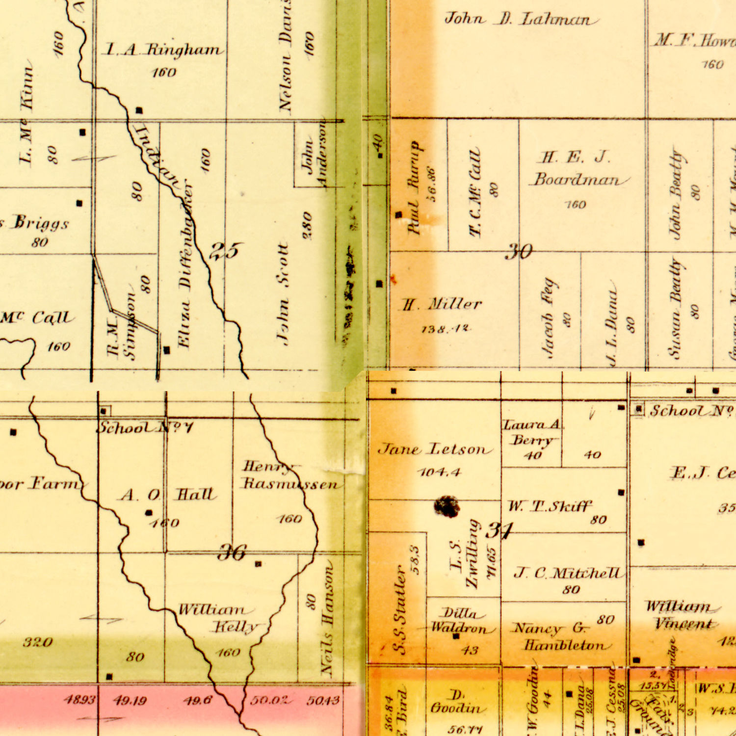 Vintage Map of Story County, Iowa 1883