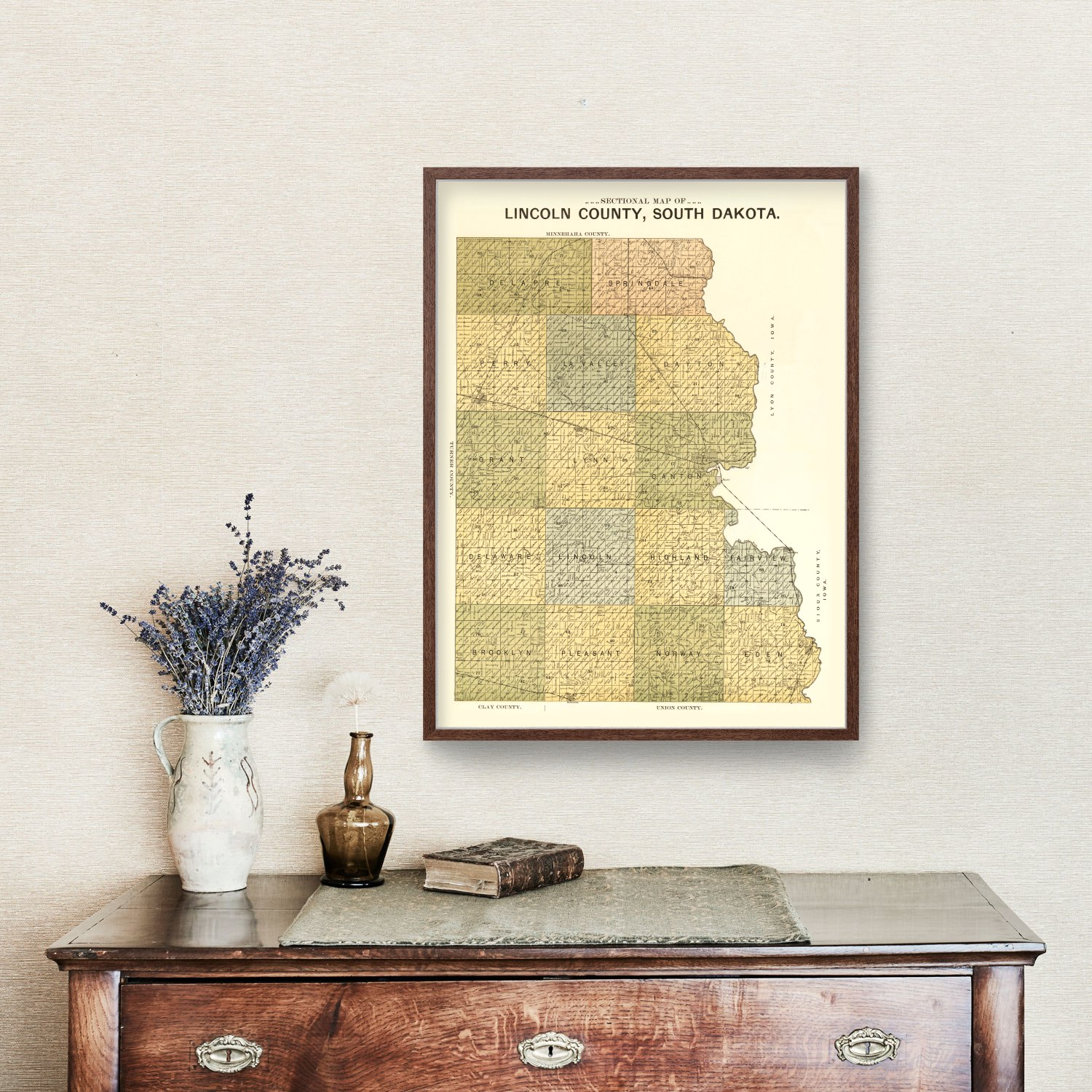 Vintage Map of Lincoln County, South Dakota 1900