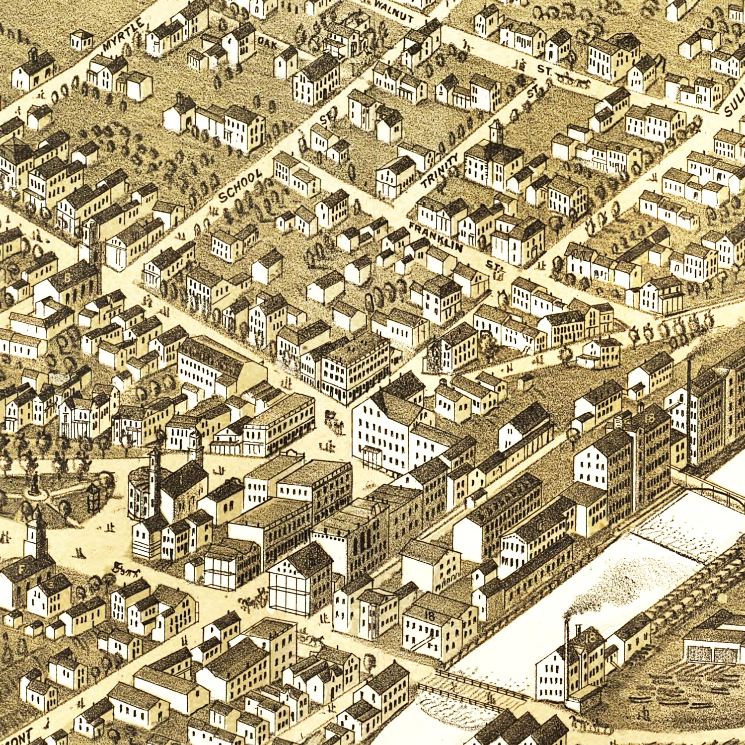 Vintage Map of Claremont, New Hampshire 1877