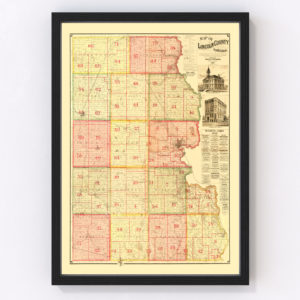 Vintage Map of Lincoln County, South Dakota 1892