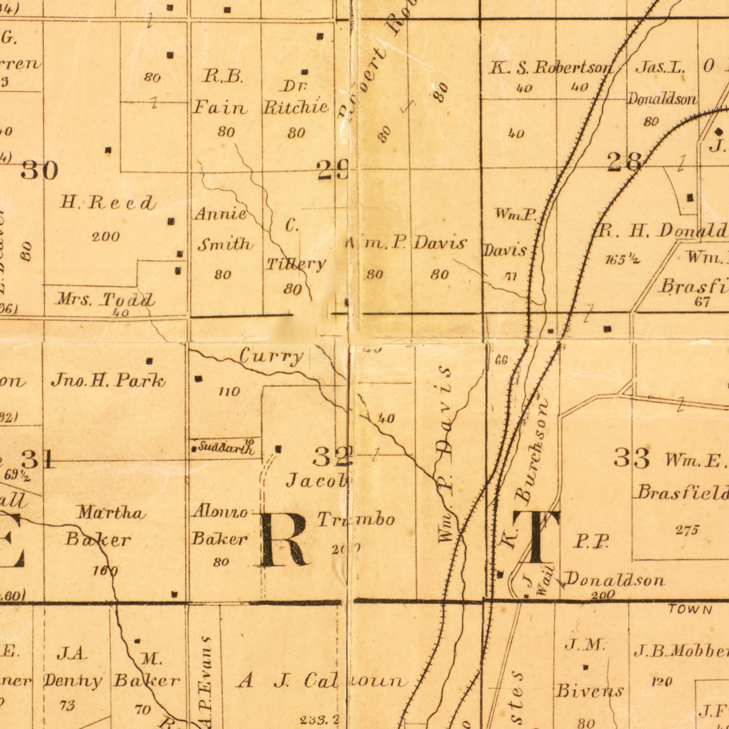 Vintage Map of Clay County, Missouri 1887