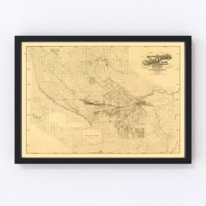 Vintage Map of Kern County, California 1897