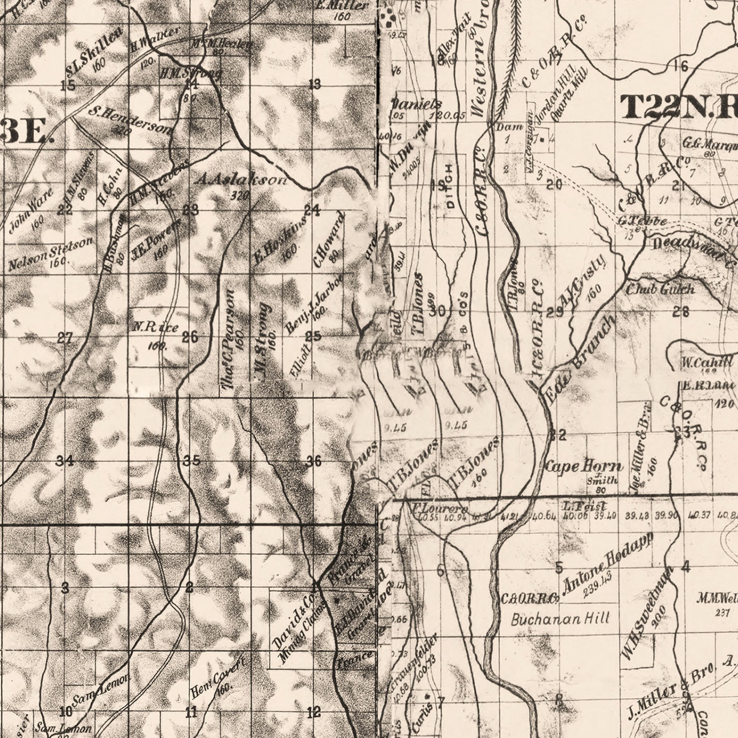 Vintage Map of Butte County, California 1886