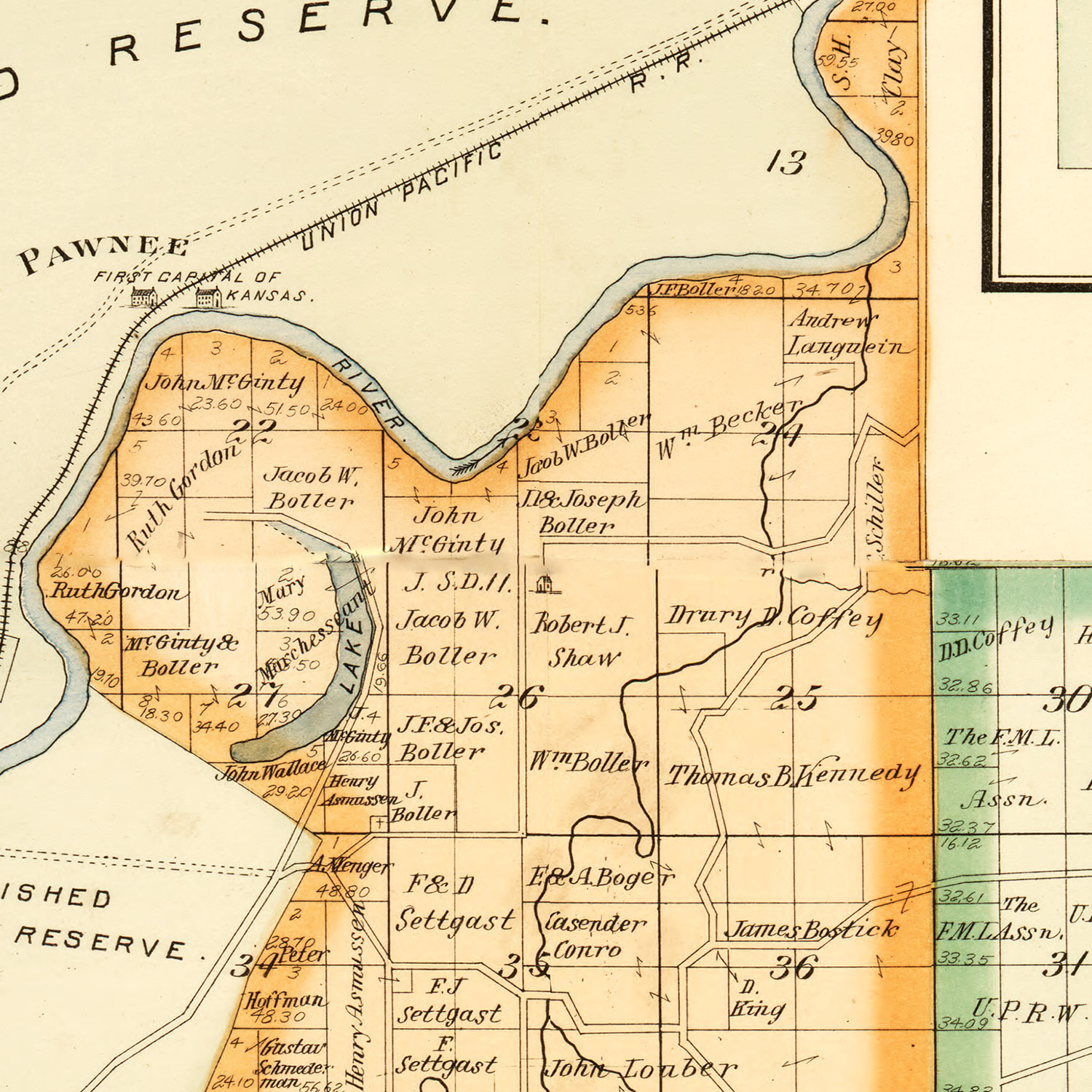 Vintage Map of Geary County, Kansas 1897